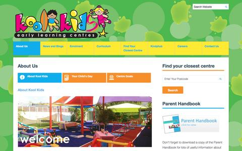 Screenshot of About Page koolkids.com.au - About Kool Kids Child Care Centres - captured May 21, 2016
