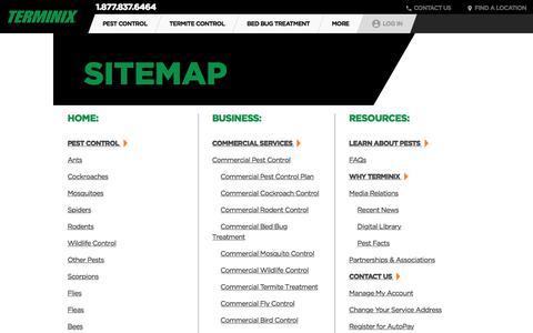 Screenshot of Site Map Page terminix.com - Sitemap   Terminix - captured Aug. 30, 2017