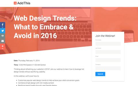 Screenshot of Landing Page addthis.com - Webinar: Design Trends - captured Oct. 22, 2016