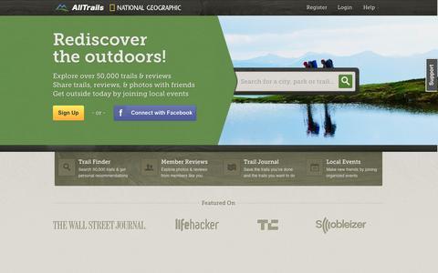 Screenshot of Home Page alltrails.com - Discover Camping, Hiking, Mountain Biking & Other Outdoor Trails | AllTrails.com - captured Sept. 13, 2014