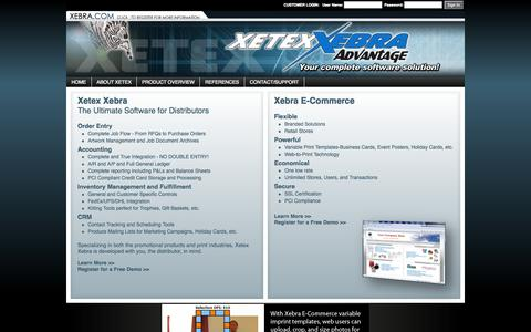 Screenshot of Home Page xebra.com - Xetex Business Systems, Inc. - captured Oct. 7, 2014