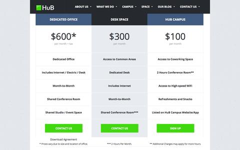 Screenshot of Pricing Page hubsarasota.com - HuB Space Pricing - captured Sept. 22, 2014