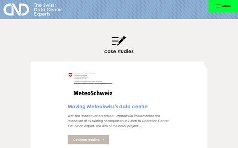 Screenshot of Case Studies Page cnd-ag.ch - CND Schweizer IT-Unternehmen, Fallstudien | CND AG The Swiss Data Center Experts - captured July 14, 2018