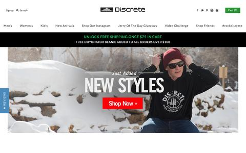 Screenshot of Home Page discreteclothing.com - Discrete Clothing and Apparel   Free Shipping on Orders over $50 - captured March 1, 2016
