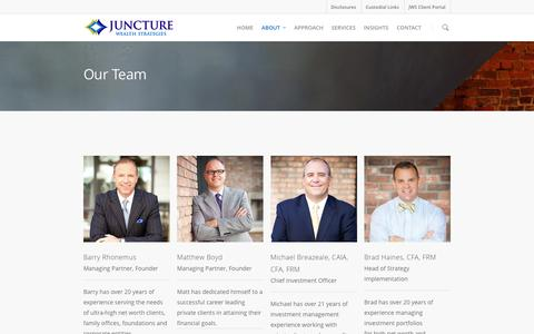 Screenshot of Team Page juncturewealth.com - Our Team - Juncture Wealth Strategies - captured Feb. 11, 2016