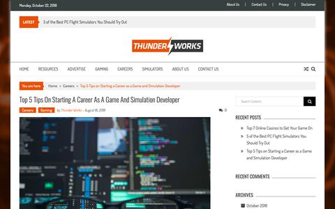 Screenshot of Developers Page thunder-works.com - Top 5 Tips on Starting a Career as a Game and Simulation Developer | Thunder Works - captured Oct. 22, 2018