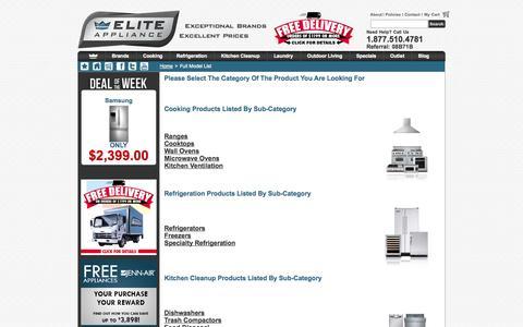 Screenshot of Site Map Page eliteappliance.com - Full Model List : EliteAppliance.com - captured Sept. 19, 2014