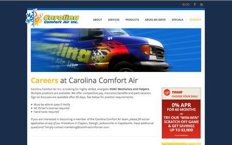 Screenshot of Jobs Page carolinacomfortair.com - HVAC Repair, Service and Maintenance Careers   Carolina Comfort Air - captured Oct. 2, 2014
