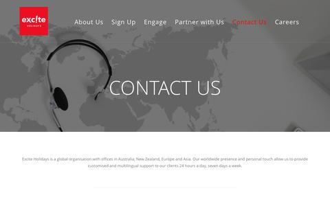 Screenshot of Contact Page exciteholidays.com - Contact Us - Excite Holidays - captured May 23, 2017