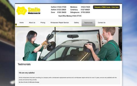 Screenshot of Testimonials Page smilewindscreens.co.uk - Smile Windscreens - Smile Windscreens - captured Oct. 8, 2014