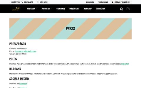 Screenshot of Press Page interflora.se - Press - Interflora - captured Sept. 21, 2018