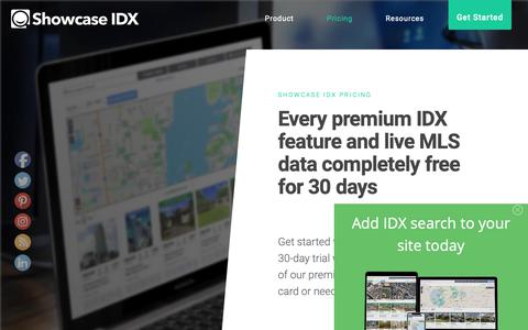 Screenshot of Pricing Page showcaseidx.com - Pricing for Real Estate Agents, Brokers, and Teams - Showcase IDX - captured April 6, 2019