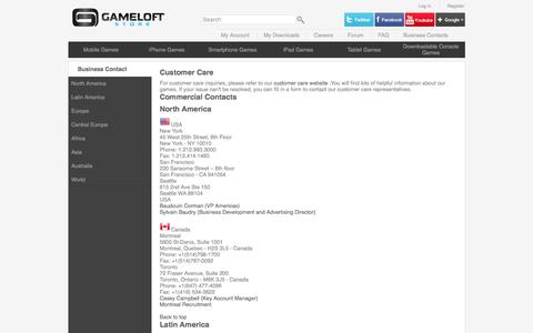 Screenshot of Contact Page gameloft.com - Top Mobile Games, Java Games, iPhone Games Available for Download | Gameloft - captured Dec. 7, 2015