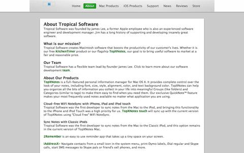 Screenshot of About Page tropic4.com - About Tropical Software - captured Feb. 27, 2016