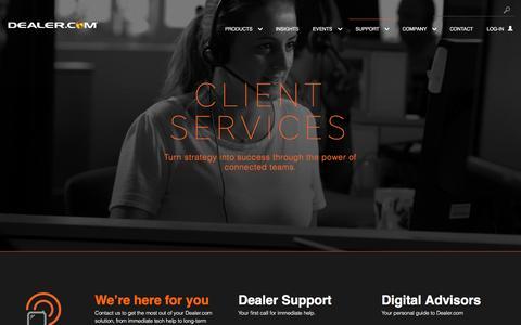 Screenshot of Support Page dealer.com - Dealer.com's Automotive Tech Support and Digital Advisory Teams - captured Jan. 31, 2017