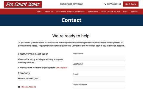 Screenshot of Contact Page procountwest.com - Contact Us | Auto-part Inventory Service for Car Dealerships - captured Sept. 6, 2017