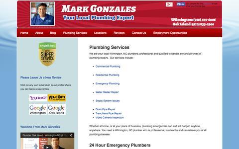 Screenshot of Services Page capefearplumber.com - Plumbing Repair Services Wilmington NC & Oak Island NC   24 Hour Plumber - captured Oct. 26, 2014