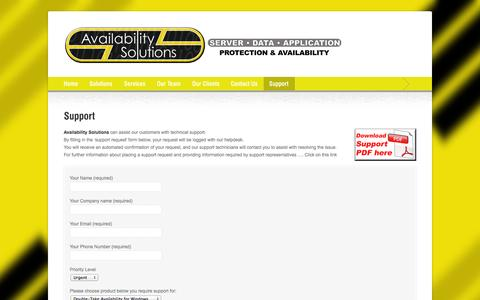 Screenshot of Support Page availabilitysolutions.com.au - Support | Availabilty Solutions - captured Oct. 29, 2014