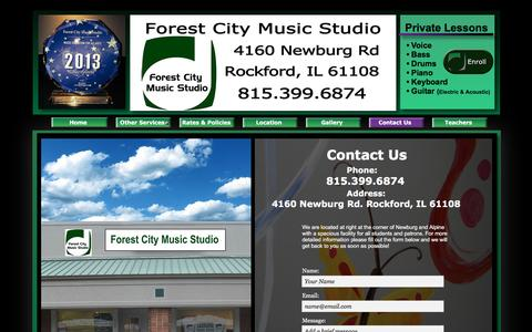 Screenshot of Contact Page forestcitymusicstudio.com - Contact - captured June 25, 2016