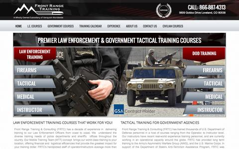 Screenshot of Home Page frontrangetraining.com - Law Enforcement Training | Government Training | Police Training - captured Oct. 6, 2014