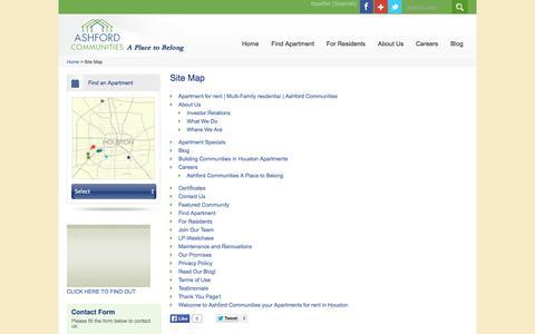 Screenshot of Site Map Page ashfordco.com - Official Sitemap | Ashford Communities - captured Oct. 4, 2014