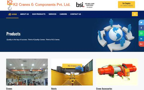 Screenshot of Products Page k2cranes.com - EOT Crane | Chain Hoist | Electric Winches - captured Oct. 14, 2018