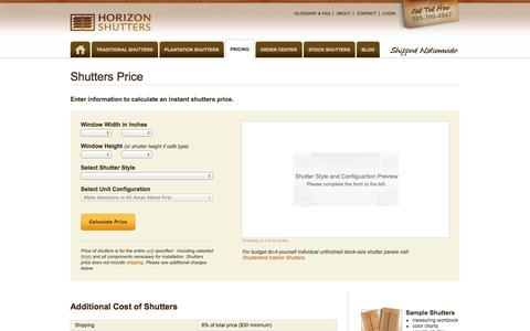 Screenshot of Pricing Page horizonshutters.com - Quickly Price Window Shutters Online & View Cost   Horizon Shutters - captured Oct. 3, 2014