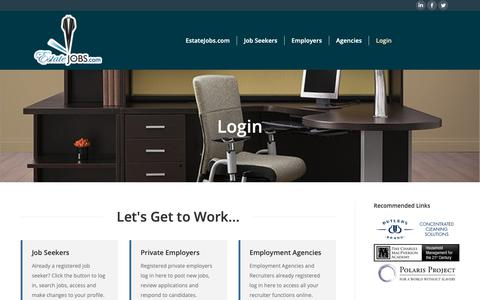 Screenshot of Login Page estatejobs.com - Login - Domestic employment job listings for staffing top private households - captured Sept. 29, 2018