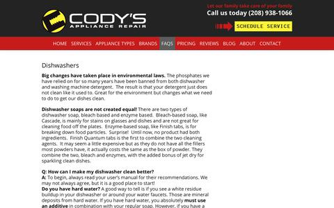 Screenshot of FAQ Page codysappliancerepair.com - Cody's Appliance FAQs - Common Appliance Questions - captured July 20, 2018