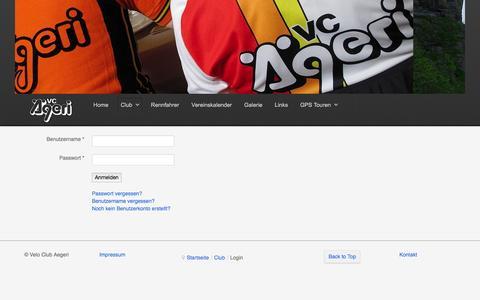 Screenshot of Login Page velo-club-aegeri.ch - Velo Club Aegeri - Login - captured June 7, 2016