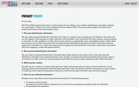 Screenshot of Privacy Page strangersoccer.com - Woodlands Futsal | Safra Tampines Futsal | Privacy Policy - Stranger Soccer - captured Jan. 11, 2016