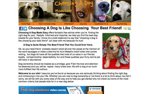 Screenshot of Home Page choosing-a-dog-made-easy.com - Choosing A Dog Made Easy - captured Sept. 21, 2016