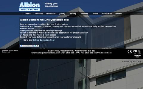 Screenshot of Pricing Page albionsections.co.uk - Quotation tool | Albion Sections - Raising Your Expectations - captured Oct. 4, 2014