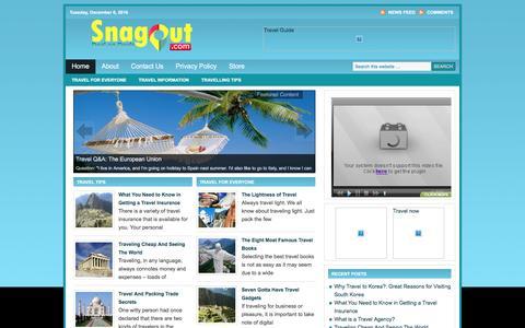 Screenshot of Blog snagout.com - Travel Plans | Travel Ideas - captured Dec. 6, 2016