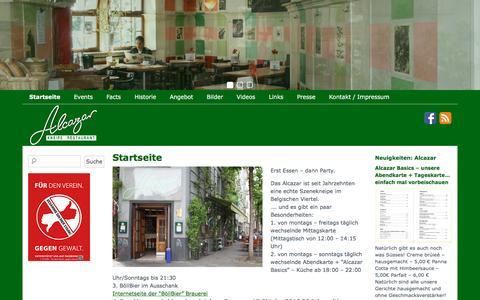 Screenshot of Home Page alcazar-koeln.de - Alcazar | Kneipe & Restaurant - captured June 9, 2016
