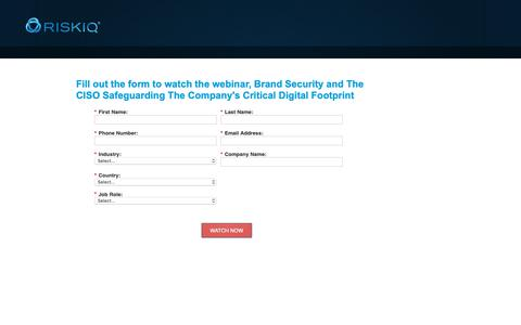 Screenshot of Landing Page riskiq.com - Brand Security and the CISO   RiskIQ - captured Oct. 18, 2018