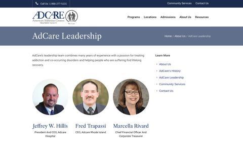 Screenshot of Team Page adcare.com - Leadership Team | AdCare | Rhode Island and Massachusetts - captured Feb. 10, 2020
