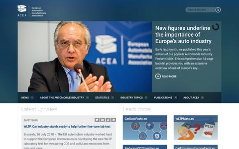 Screenshot of Home Page acea.be - ACEA - European Automobile Manufacturers' Association - captured July 28, 2018