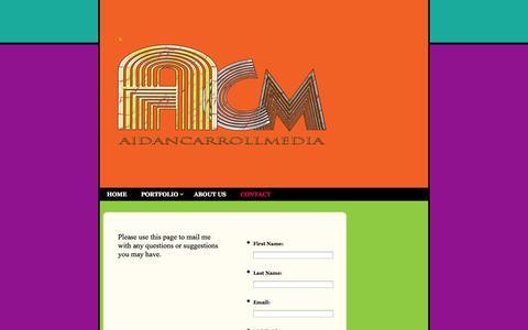 Screenshot of Contact Page aidancarroll.com - Aidan Carroll Media - - captured Oct. 4, 2014