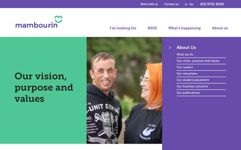 Screenshot of About Page mambourin.org - Our vision, purpose and values - captured Oct. 2, 2018
