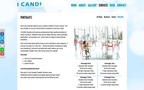Screenshot of Services Page candistudios.com - Portraits - I CANDI Studios - captured Sept. 30, 2018