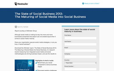 Screenshot of Landing Page hootsuite.com - The Maturing of Social Media in Business - captured Aug. 17, 2016
