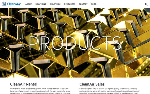 Screenshot of Products Page cleanair.com - Products – CleanAir - captured Aug. 2, 2017