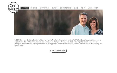 Screenshot of About Page parkvalleychurch.com - About Us | Park Valley Church - captured July 15, 2018