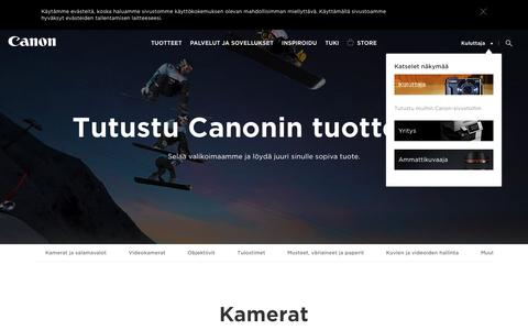 Screenshot of Products Page canon.fi - Tuotteet kotikäyttöön - Canon Oy - captured Sept. 12, 2016