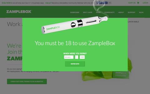 Screenshot of Jobs Page zamplebox.com - ZampleBox | Best E-Liquid & Best E-Juice Subscription | Best Vape Liquid Every Month - captured Oct. 30, 2014
