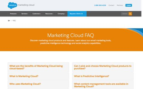Screenshot of FAQ Page exacttarget.com - Marketing Cloud FAQ's & Marketing Products Explained - Salesforce.com - captured Nov. 18, 2015