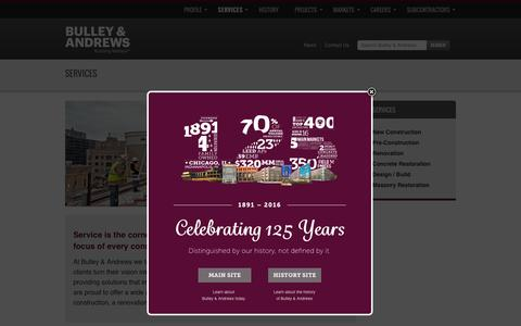 Screenshot of Services Page bulley.com - Services - Bulley & Andrews - captured Feb. 8, 2016
