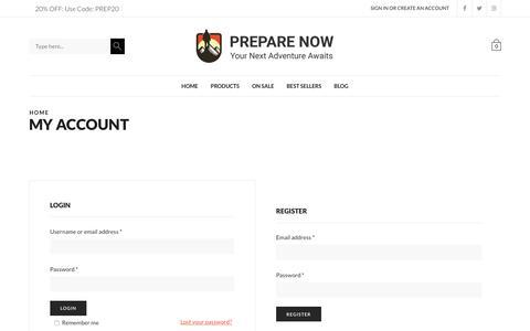 Screenshot of Login Page prepare-now.com - My account - Prepare Now - captured June 30, 2018