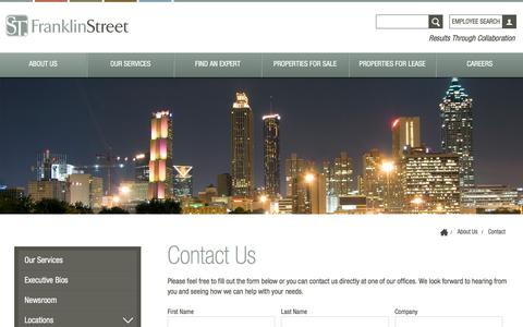 Screenshot of Contact Page franklinst.com - Contact Us | Franklin St - captured Feb. 17, 2017